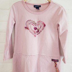 Naartije Long Sleeve Heart Applique Dress 2T